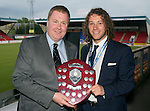 St Johnstone FC Player of the Year Awards...18.05.14<br /> We Are Perth Online Player of the Year Award to Stevie May presented by Gordon Muir<br /> Picture by Graeme Hart.<br /> Copyright Perthshire Picture Agency<br /> Tel: 01738 623350  Mobile: 07990 594431