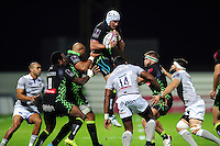Ben Mowen of Pau claims the ball in the air. European Rugby Challenge Cup match, between Pau (Section Paloise) and Bath Rugby on October 15, 2016 at the Stade du Hameau in Pau, France. Photo by: Patrick Khachfe / Onside Images