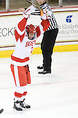 Britt Hergesheimer (BU - 2) celebrates her first goal of the season which opened scoring in the game midway through the second period. - The Northeastern University Huskies tied Boston University Terriers 3-3 in the 2011 Beanpot consolation game on Tuesday, February 15, 2011, at Conte Forum in Chestnut Hill, Massachusetts.