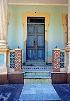 Blue Door, Brick and Tile Walkway, Cuba, Republic of Cuba, , pictures of front door entrances