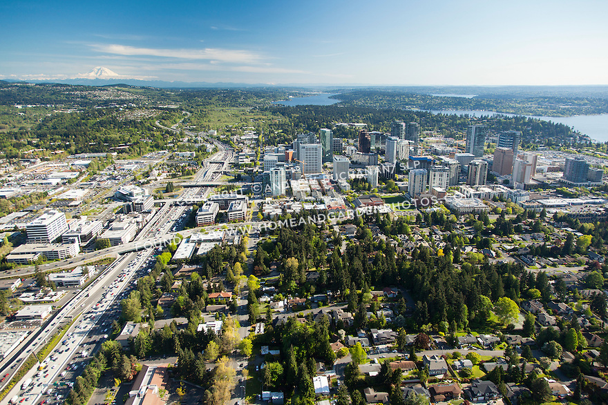 aerial photos of downtown Bellevue with Mount Rainier in the background