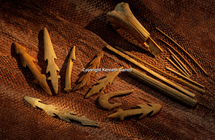 Peopling the Americas; Bone fishing tools; Found by Rick Knecht; sewing needles made from seabird bone; Dutch Harbor; Aleutian Islands; Alaska