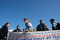 Sit-in in the center of Calais for the Migrant Human rights and against the  police abuse. Calais, France. Apr. 01, 2015
