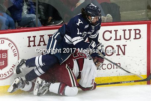 Evan Smith (Yale - 13), Jake Horton (Harvard - 19) - The Harvard University Crimson tied the visiting Yale University Bulldogs 1-1 on Saturday, January 21, 2017, at the Bright-Landry Hockey Center in Boston, Massachusetts.