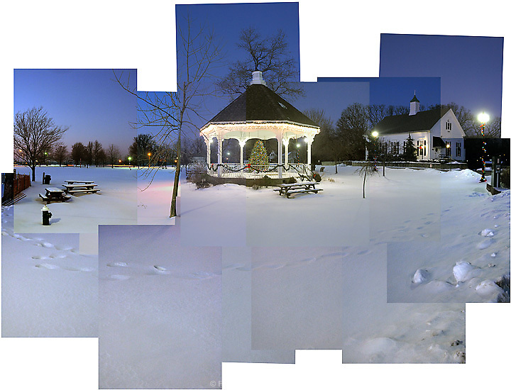 The Gazebo and Community House in Bay Village, OH, on a winter day.