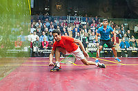 Saurav Ghosal (IND) vs. Tarek Momen (EGY) in the second round of the 2014 METROsquash Windy City Open held at the University Club of Chicago in Chicago, IL on February 28, 2014