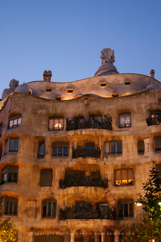 La Pedrera by Gaudi. Barcelona, Catalonia, Spain.