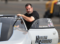 Nov 12, 2016; Pomona, CA, USA; NHRA pro stock driver Chris McGaha during qualifying for the Auto Club Finals at Auto Club Raceway at Pomona. Mandatory Credit: Mark J. Rebilas-USA TODAY Sports