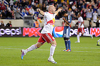 Luke Rodgers (9) of the New York Red Bulls celebrates scoring during a Major League Soccer (MLS) match against the Los Angeles Galaxy at Red Bull Arena in Harrison, NJ, on October 4, 2011.