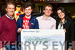 Benny Thade McCarthy presenting a cheque to Daniel McAuliffe from Duagh who will be traveling to Calcutta next March with the Hope Immersion Programme . The money was raised at Benny Thade's Rambling House which is held on the 4th. Thursday of every  month in Fr. Casey's Clubhouse Abbeyfeale.<br /> Also in photograph are Daniels parents Liam &amp; Martina.