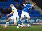 St Johnstone v Celtic...15.05.15   SPFL<br /> David Wotherspoon turns Scott Brown<br /> Picture by Graeme Hart.<br /> Copyright Perthshire Picture Agency<br /> Tel: 01738 623350  Mobile: 07990 594431