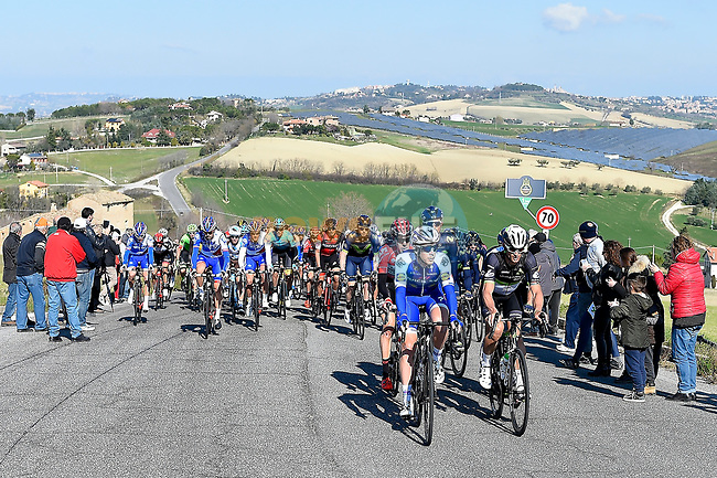 The peloton in action during Stage 6 of the 2017 Tirreno Adriatico running 168km from Ascoli Piceno to Civitanova Marche, Italy. 13th March 2017.<br /> Picture: La Presse/Fabio Ferrari | Cyclefile<br /> <br /> <br /> All photos usage must carry mandatory copyright credit (&copy; Cyclefile | La Presse)