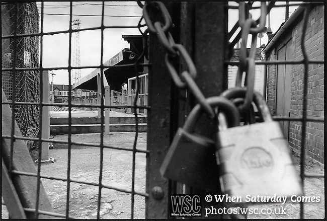 Plough Lane, Wimbledon c1996. The padlocked gates of the closed ground. (Exact date tbc). Photo by Tony Davis