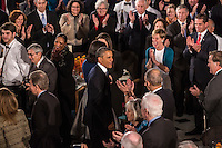 President Barack Obama arrives with First Lady Michelle Obama at the Inaugural Luncheon in Statuary Hall in the U.S. Capitol on Monday, January 21, 2013 in Washington, DC.