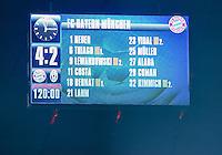 FUSSBALL CHAMPIONS LEAGUE  SAISON 2015/2016 ACHTELFINALE RUECKSPIEL FC Bayern Muenchen  - Juventus Turin      16.03.2016 Anzeigentafel mit dem Endergebniss