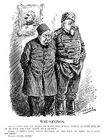 """War-Savings. Sultan. """"The old 'un seems to want the whole world against him, so as to save his face when he's beaten."""" Ferdie. """"I don't care what becomes of his face so long as I save my head."""" Sultan. """"Same here."""" (Ferdinand I of Bulgaria and Mehmed V of Turkey look sad infront of a proud portrait of Wilhelm II during WW1)"""