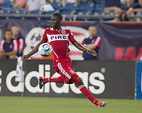 Chicago Fire midfielder Patrick Nyarko (14) collects a pass. In a Major League Soccer (MLS) match, the New England Revolution tied the Chicago Fire, 1-1, at Gillette Stadium on June 18, 2011.