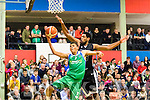Slam Dunk<br /> --------------<br /> Justin Goldsborough, Swords Thunder tries to block Irish TV, Tralee Warriors, Ryan Leonard from scoring under the board watched by a packed audience at Tralee sports complex when the sides met last Saturday night.