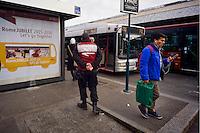 Roma 3 Dicembre 2015<br /> Giubileo, i nuovi biglietti dell'Atac per i pellegrini.<br /> Presentati i biglietti Atac da collezione per il Giubileo, con una serie speciale di quattro BIT raffiguranti Papa Francesco e contenuti in una custodia souvenir. Presentata anche  anche la RomeJubilee, la card in tiratura limitata con l'immagine del Pontefice,che consentir&agrave; agli acquirenti di caricare tutta l&rsquo;offerta turistica di Atac, dal ticket giornaliero a quello settimanale. Nella foto: Agenti della sicurezza dell'Atac, controllano le fermate degli autobus in piazza dei Cinquecento.<br /> Rome December 3, 2015<br /> Jubilee, the new ATAC tickets for pilgrims.<br /> Presented  collectible tickets Atac  (Tramways Company and Coach of the Municipality of Rome) for the Jubilee, with a special series of four BIT depicting Pope Francis and contained in a case souvenirs. Also presented also RomeJubilee, the limited edition card with the image of the Pope, which allow buyers to load all the tourist offer of Atac, from ticket daily to weekly. Pictured: Security agents ATAC, control the bus stops in Piazza dei Cinquecento.