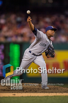 22 July 2016: San Diego Padres starting pitcher Luis Perdomo on the mound against the Washington Nationals at Nationals Park in Washington, DC. The Padres defeated the Nationals 5-3 to take the first game of their 3-game, weekend series. Mandatory Credit: Ed Wolfstein Photo *** RAW (NEF) Image File Available ***