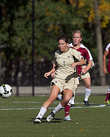 Boston College forward Victoria DiMartino (1) prepares to receive pass as Florida State defender Eirin Kleppa (5) defends. Florida State University defeated Boston College, 1-0, at Newton Soccer Field, Newton, MA on October 31, 2010.