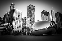 "Chicago Cloud Gate ""The Bean"" sculpture Chicago skyline buildings in black and white."
