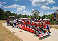 Apr 22, 2014; Kilgore, TX, USA; NHRA top fuel dragster driver Steve Torrence poses for a photo with the Kilgore College Rangerettes at the Torrence estate. Mandatory Credit: Mark J. Rebilas-USA TODAY Sports