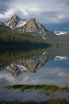 Storm clouds over Mt. McGown, Sawtooth mountains, Stanley Lake, Idaho
