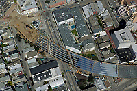 aerial photography freeway ramp construction in Hayes Valley San Francisco California