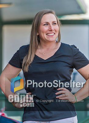 10 March 2015: Washington Nationals Senior Director of Baseball Communications Amanda Comak smiles in the dugout prior to a Spring Training game against the Miami Marlins at Roger Dean Stadium in Jupiter, Florida. The Marlins edged out the Nationals 2-1 on a walk-off solo home run in the 9th inning of Grapefruit League play. Mandatory Credit: Ed Wolfstein Photo *** RAW (NEF) Image File Available ***