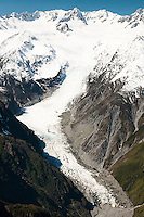 Aerial views of Fox Glacier tongue and its valley, Westland National Park, West Coast, New Zealand
