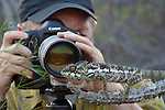 Art Wolfe on location photographing a Madagascar Giant Chameleon, Madagascar