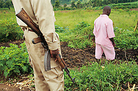 Rwanda. Southern province. District of Muhanga. Central jail of Gitarama. A prison warder, dressed with a beige sandy army uniform, holds a kalashnikov in his hand while a black teenager boy, wearing the pink prisoner's clothes, stands outside of the prison during the morning agriculture's lesson. Minors in detention. Detention pending trial and after trial, when sentenced to prison. The non-governmental organization (NGO) Fondation DiDé - Dignité en détention runs the Encademi (Encadrement des mineurs) program. Prison centrale de Gitarama. Quartier des mineurs.  © 2007 Didier Ruef