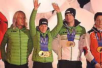 SCHAATSEN: AMSTERDAM: Olympisch Stadion, 28-02-2014, KPN NK Sprint/Allround, Coolste Baan van Nederland, Huldiging Olympische medaillewinnaars, Koen Verweij, Ireen Wüst, Sven Kramer, ©foto Martin de Jong