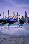 Gondolas at Piazza San Marco Venice with Isola di San Giorgio Maggiore in background