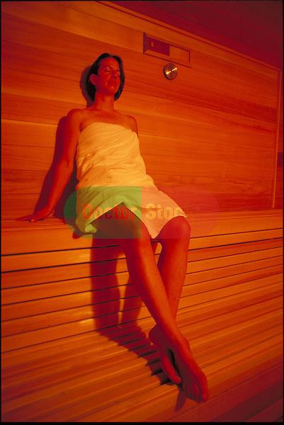 woman taking a sauna