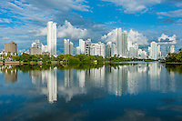Highrises reflecting in the harbor area in Cartagena, Colombia
