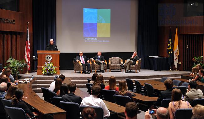 May 18, 2012; President Emeritus Rev. Theodore M. Hesburgh, C.S.C. speaks at the Kroc Institute Undergraduate Recognition Ceremony in the McKenna Hall auditorium...Photo by Matt Cashore/University of Notre Dame