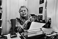 November 20th 1979. Mount Desert Island, Maine, USA. French writer Marguerite Yourcenar, the first woman to be elected to the Academie Francaise in 1980, at her house: Petite Plaisance.