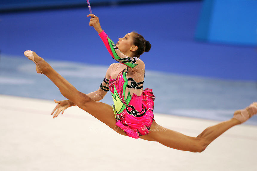August 29, 2004; Athens, Greece; Rhythmic gymnastic star IRINA TCHACHINA of Russia split leaps on the way to winning silver in All-Around at 2004 Athens Olympics...(©) Copyright 2004 Tom Theobald