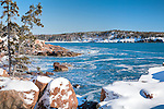 A winter view of the rocky Maine coast in Acadia National Park, Downeast, ME, USA