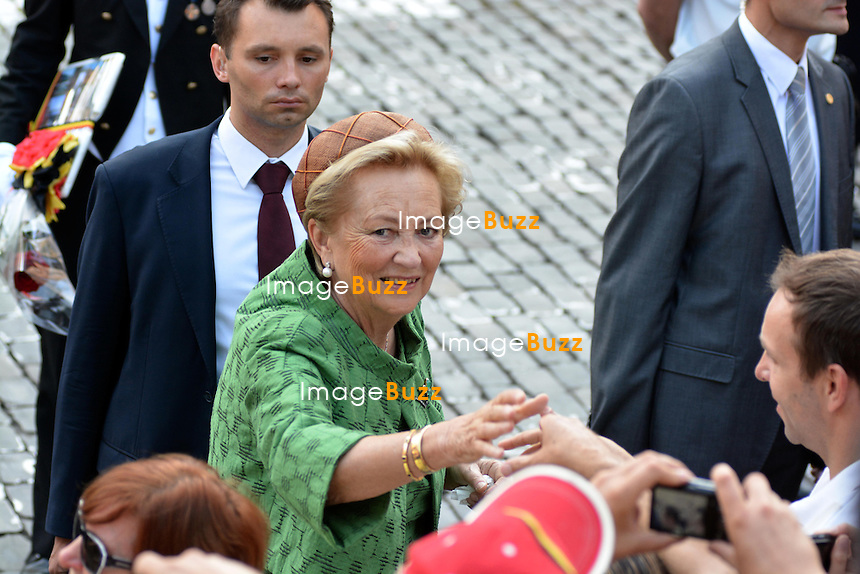 BRUSSELS, BELGIUM: The Royal Belgian Family attends the &quot; Te Deum &quot; ceremony at the Cathedral of St Michael and Saint Gudula July 21, 2013.<br /> Pictured: Queen Paola