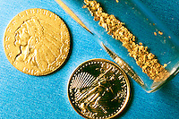 NATIVE GOLD NUGGETS<br /> Gold Coins with Gold Dust<br /> Gold dust was panned from a stream.