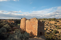 Twin Towers, Square Tower group, built 1150-1350, Little Ruin Canyon, Hovenweep National Monument, Colorado, USA. The Square Tower group housed up to 500 people and includes towers, residential areas, kivas and storage rooms. This area has been settled by Native Americans from 6000 BC until the 14th century AD and currently houses the ruins of 6 Anasazi Puebloan villages from the 13th century. Picture by Manuel Cohen