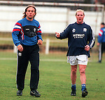 Paul Gascoigne joking with perplexed Seb Rozenthal at training at Wos Cricket Ground, Partick