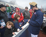Former Ole Miss baseball player Drew Pomeranz, a 2010 first round draft pick of the Cleveland Indians, signs autographs at the Ole Miss baseball alumni game at Oxford-University Stadium in Oxford, Miss. on Saturday, February 5, 2011.