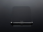 Apple iPhone 7 Plus with blank screen closeup of the Lightning port isolated on black background