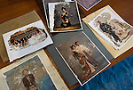 Wedding and other portrait photos are among around  50,000 items salvaged from the debris in the 6 months that have past since the March 11 tsunami at a repository that was formerly a school gym in Ishinomaki, Miyagi Prefecture on 10 Sept. 2011.  Photograph: Robert Gilhooly