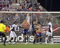 Monarcas Morelia goalkeeper Federico Vilar (3) punches out a corner kick. Monarcas Morelia defeated the New England Revolution, 2-1, in the SuperLiga 2010 Final at Gillette Stadium on September 1, 2010.