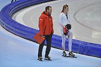 SCHAATSEN: HEERENVEEN: 20-12-2013, IJsstadion Thialf, KKT Trainingswedstrijd, Jan van Veen, Lotte van Beek, ©foto Martin de Jong